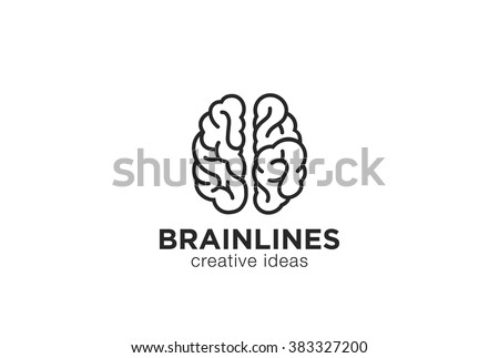 Brain Logo silhouette top view design vector template linear style.  Brainstorm think idea Logotype concept icon. - stock vector