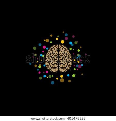 Brain logo. Stylized brain with color and bright balls around. Isolated vector logo. Brainstorm. Educational organization logo. Refresher courses. Brain activity. Thinking. Idea. Awareness.Learn logo. - stock vector