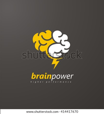 Brain Logo vector design layout. Creative idea symbol concept. Unique brainstorm power icon template. Abstract brain logo with yellow thunderbolt on a dark background.  - stock vector