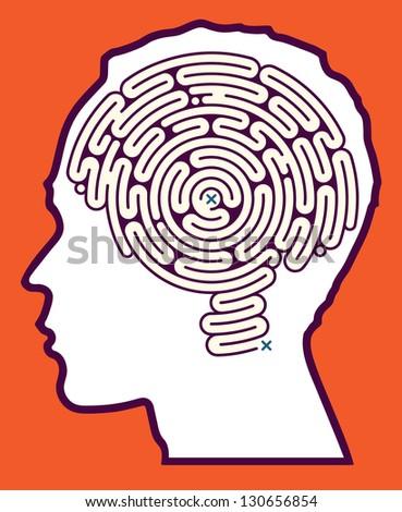 Brain Maze Puzzle - stock vector