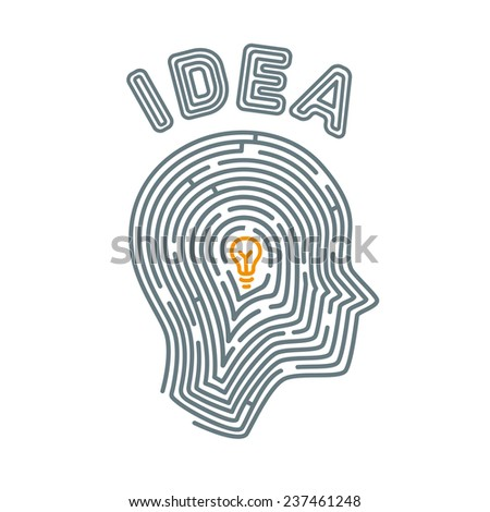 Brain maze. The path to insight and idea. Image of the head in flat style of expressing intricate maze way to insight - stock vector