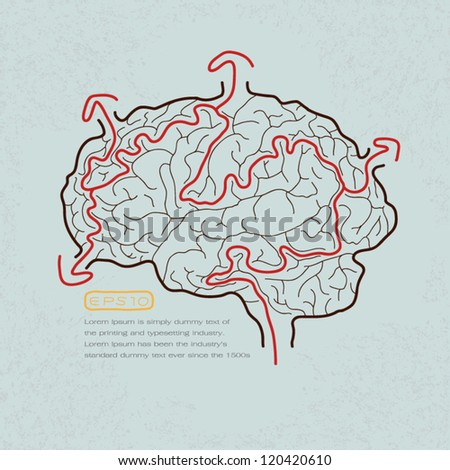 brain maze with correct path , Vector - stock vector