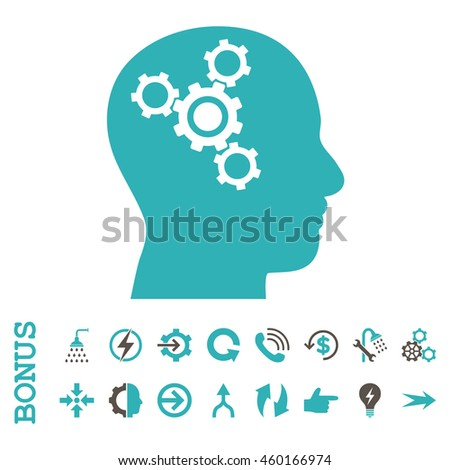 Brain Mechanics vector bicolor icon. Image style is a flat pictogram symbol, grey and cyan colors, white background.