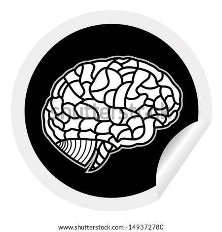 brain model on sticker icon web button. EPS10 illustration  - stock vector