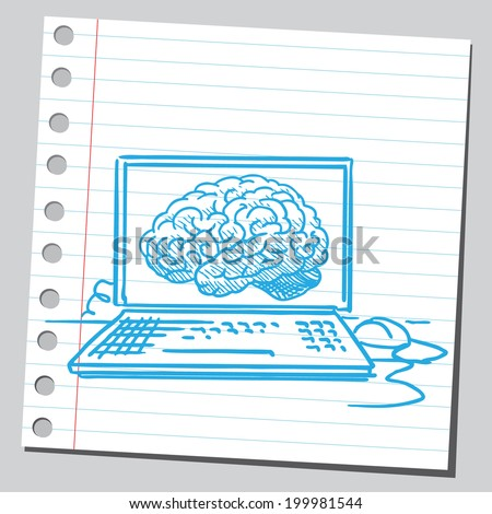 Brain on computer screen - stock vector