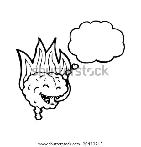 brain on fire cartoon - stock vector