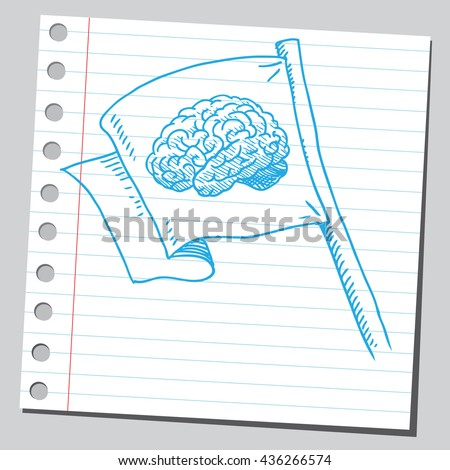 Brain on flag - stock vector