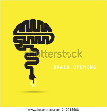 Brain opening concept.Creative brain abstract vector logo design template. Corporate business industrial creative logotype symbol.Vector illustration - stock vector