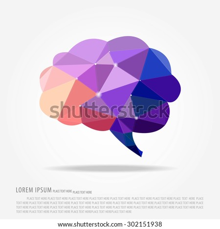 brain polygon and business icon vector