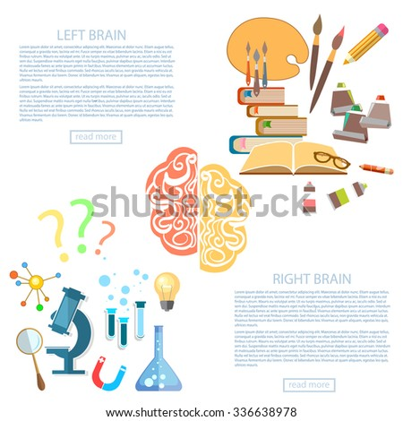 Brain power of the mind left and right hemisphere science and art education vector banners - stock vector