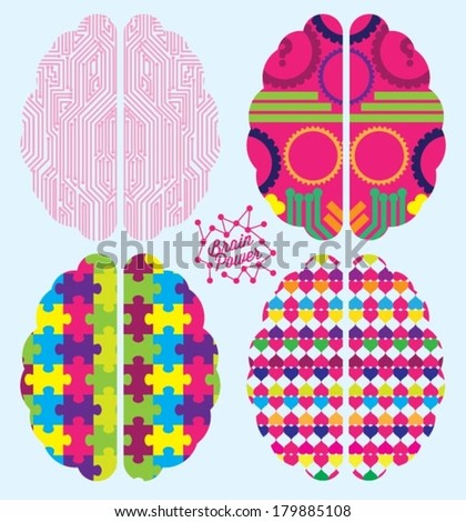 Brain Power Vector Icons: Infrastructure, cogs, thought process, jigsaw, color - stock vector