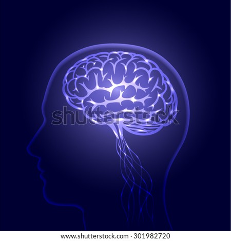 brain, process of human thinking, The concept of intelligence, vector illustration  - stock vector