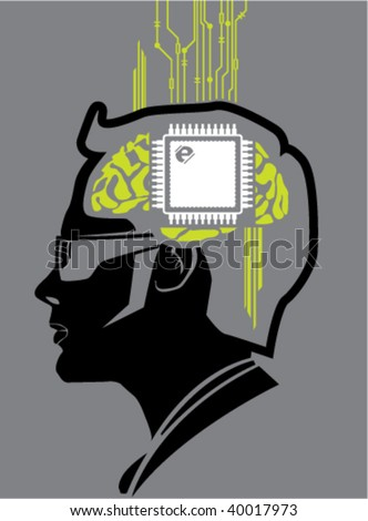 Brain processor Computer Chip - stock vector