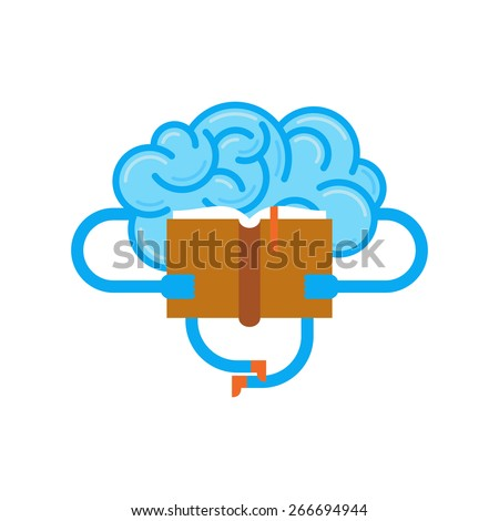 Brain reading a book. Conceptual illustration of  training your brain. - stock vector