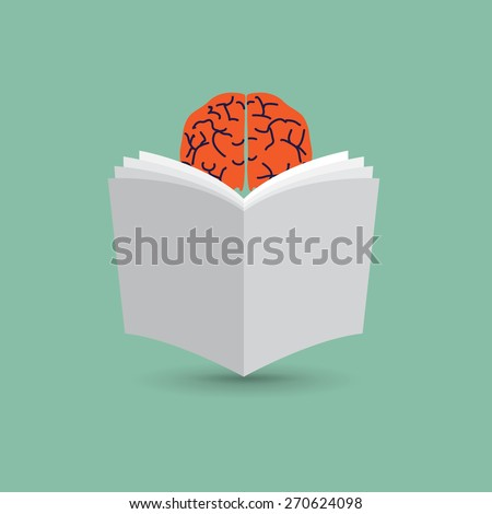 brain reads the newspapers, hidden behind the paper - stock vector