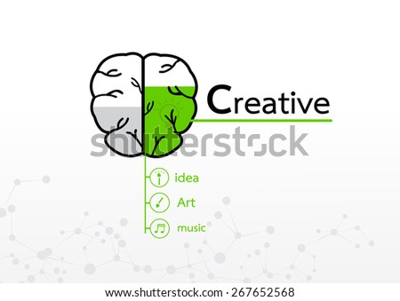 brain right concept. Creative abstract infographic - stock vector