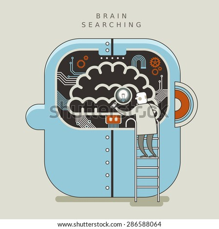 brain searching concept illustration in thin line style  - stock vector