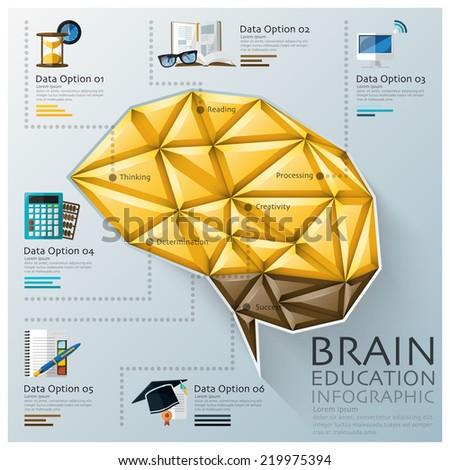 Brain Shape Three Dimension Polygon Education Infographic Design Template - stock vector