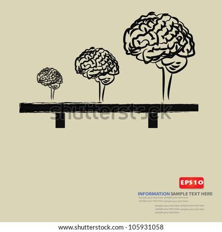 Brain,small ,big drawing,Vector - stock vector
