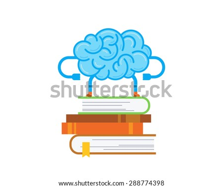 Brain stays on the stack of books. Conceptual illustration of training your brain. - stock vector