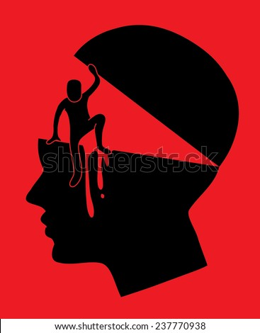 brain stolen head, abstract vector graphic, human escape from head picture - stock vector