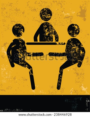Brain storm concept,human resource on yellow background,grunge vector - stock vector