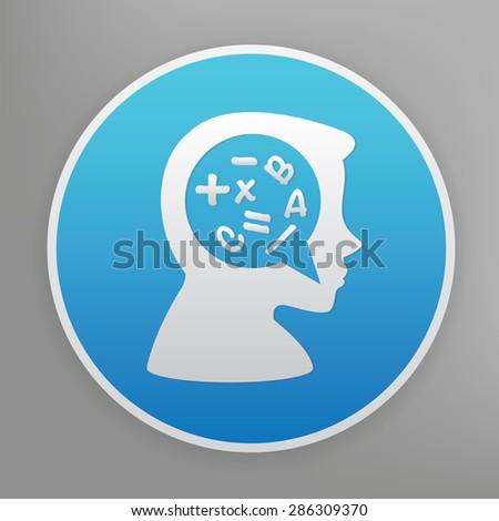 Brain storm design icon on blue button,clean vector - stock vector