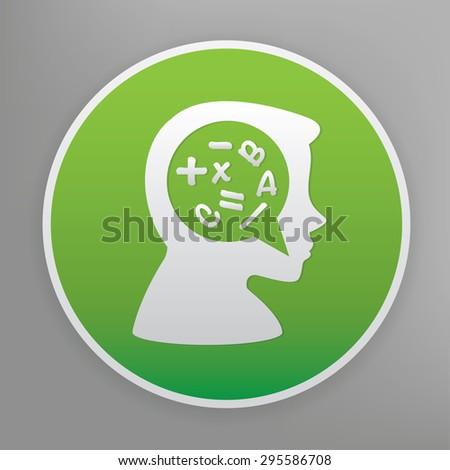 Brain storm design icon on green button, clean vector  - stock vector