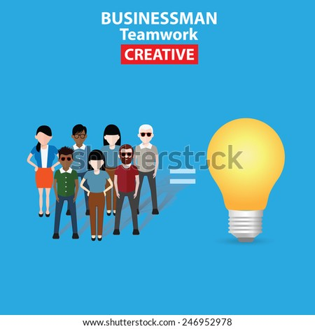 Brain storm, Idea, business concept on blue background, clean vector - stock vector