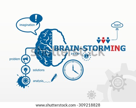 Brain-storming concept and brain. Hand writing Brain-storming with blue marker - stock vector