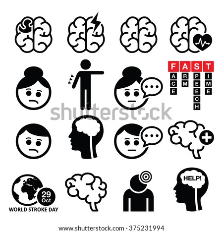 Brain stroke icons - brain injury, brain damage concept - stock vector
