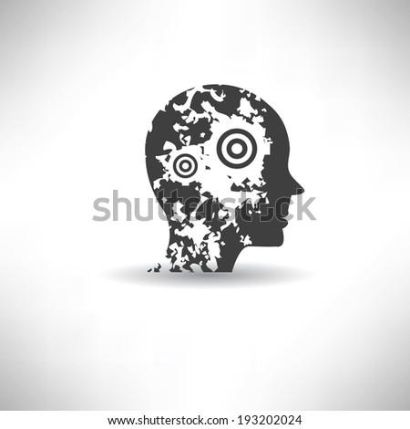 Brain symbol,grunge vector - stock vector