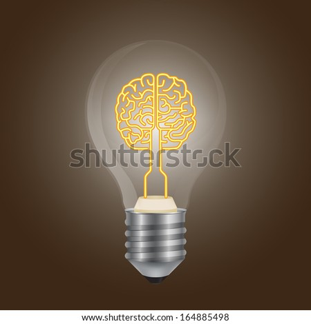 Brain symbol in a lamp 3d - stock vector