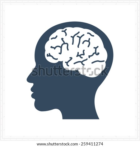 brain think design over orange background vector illustration - stock vector