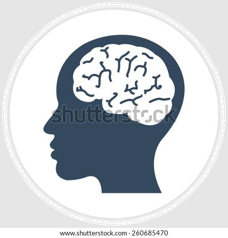 brain think design over orange background vector illustration - stock vector