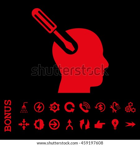 Brain Tool vector icon. Image style is a flat iconic symbol, red color, black background.