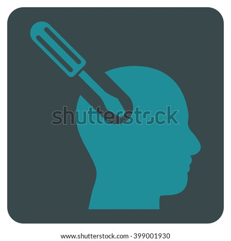Brain Tool vector symbol. Image style is bicolor flat brain tool icon symbol drawn on a rounded square with soft blue colors.