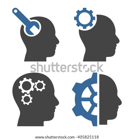 Brain Tools vector icons. Style is bicolor cobalt and gray flat symbols on a white background. - stock vector