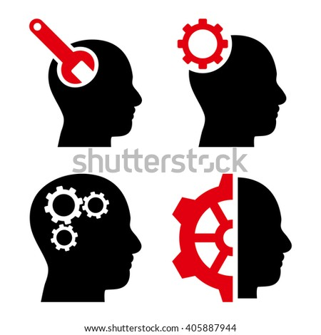 Brain Tools vector icons. Style is bicolor intensive red and black flat symbols on a white background. - stock vector