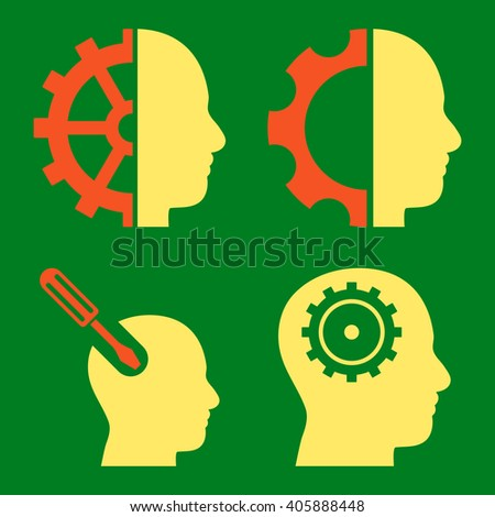 Brain Tools vector icons. Style is bicolor orange and yellow flat symbols on a green background. - stock vector