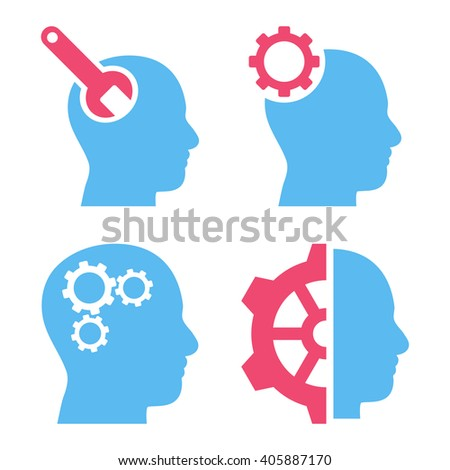 Brain Tools vector icons. Style is bicolor pink and blue flat symbols on a white background. - stock vector