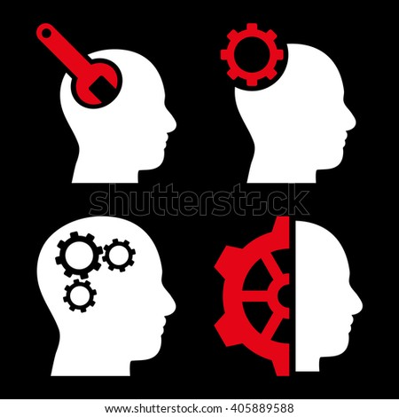 Brain Tools vector icons. Style is bicolor red and white flat symbols on a black background. - stock vector