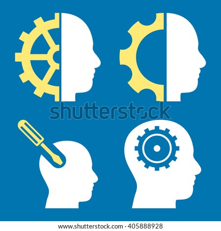 Brain Tools vector icons. Style is bicolor yellow and white flat symbols on a blue background. - stock vector