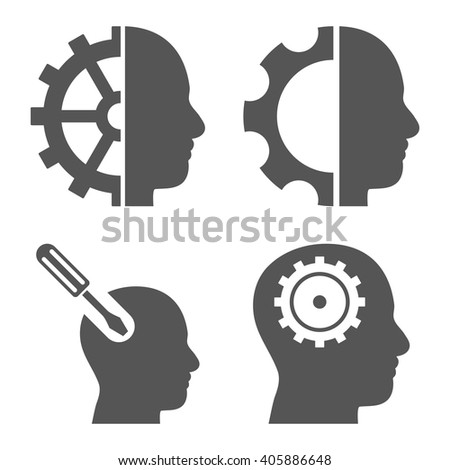 Brain Tools vector icons. Style is gray flat symbols on a white background. - stock vector