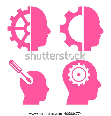 Brain Tools vector icons. Style is pink flat symbols on a white background. - stock vector