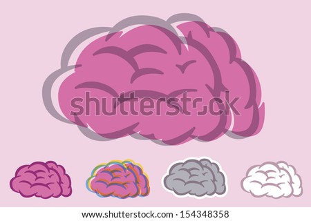 Brain tooned collection - stock vector