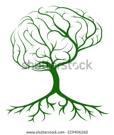 Brain tree concept of a tree growing in the shape of a human brain. Concept for ideas or inspiration - stock vector
