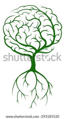 Brain tree concept of a tree growing in the shape of a human brain. Could be a concept the tree of knowledge - stock vector