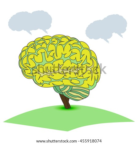 Brain tree illustration. Tree of knowledge. Vector illustration. - stock vector