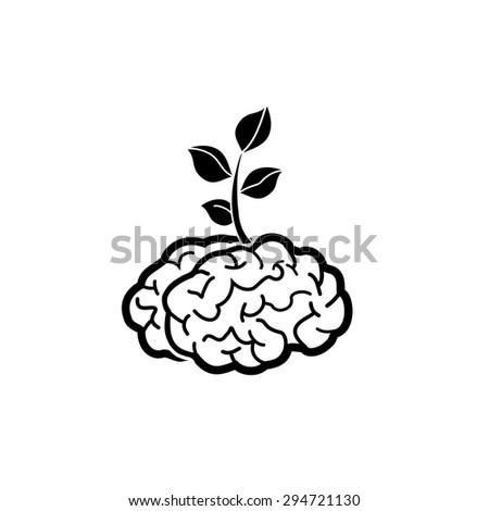 Brain tree,tree of knowledge vector icon.   - stock vector